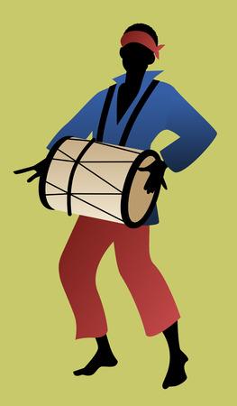 드럼을 연주하는 남자의 실루엣입니다. 벡터 일러스트 레이션