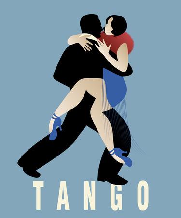 Couple dancing an argentinian tango. Vector Illustration