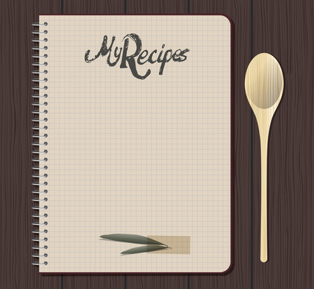 Recipe notebook with hand drawn text. Olive and laurel leaves with adhesive tape. Blank space.