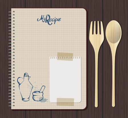 Recipe notebook graph with hand drawn text, oilcan and mortar. Wooden fork and spoon. White notebook sheet and adhesive tape. Wooden background. Ilustracja