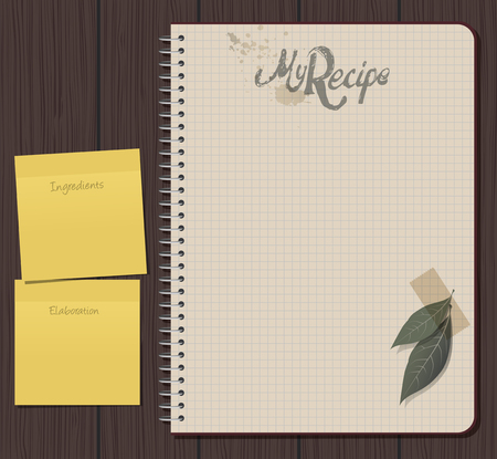 Recipe notebook with hand drawn text. Olive and laurel leaves with adhesive tape. Yellow sticky notes. Blank space. Ilustracja