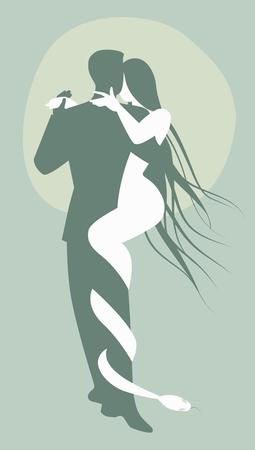 죄의 개념. 남자 악마와 탱고 춤 여자와 뱀입니다. 스톡 콘텐츠 - 90948837