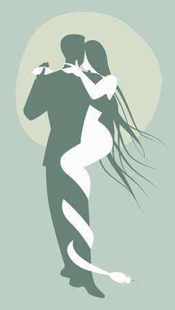 Konzept der Sünde. Mann, der Tango mit einer Teufelfrau und -schlange tanzt. Standard-Bild - 90948837