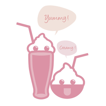 Cute ice cream, milkshake with straws and speech balloon. 일러스트