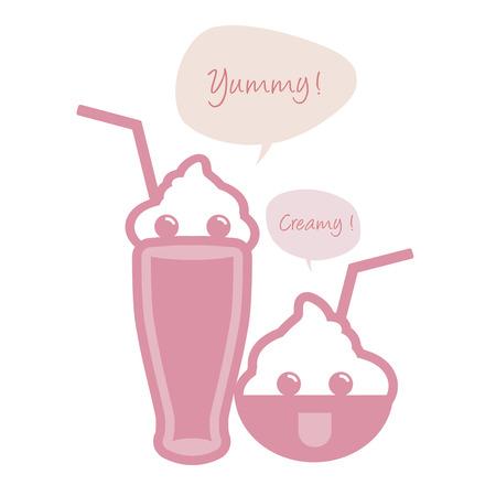 Cute ice cream, milkshake with straws and speech balloon. Vectores