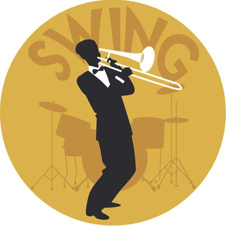 Estilo de música. Oscilación. Silueta de trombonista y tambores en el fondo