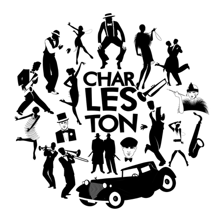 Charleston dance icons. Cars, flapper girls, gangsters and Charleston dancers Çizim
