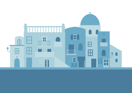 Typical Greek island houses in blue on white background