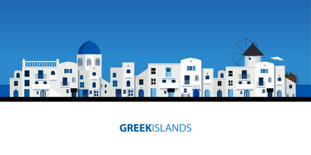 Typical Greek island houses. Blue sky and sea on the background Çizim