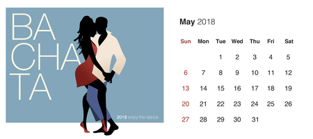 May 2018 calendar with dancing couple icon. Illustration