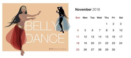November 2018 calendar with dancing couple icon. Vettoriali