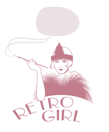 Retro style emblem representing a flapper girl smoking in long pipe. Smoke making a text balloon