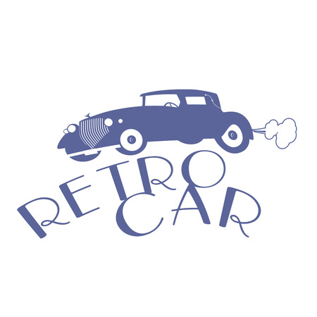 Retro style emblem representing a typical car from the 20s Çizim