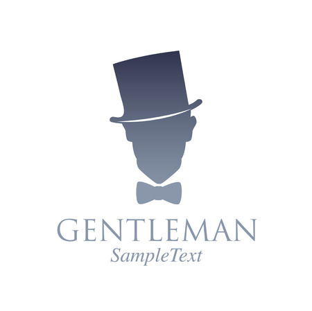 Retro style emblem. Silhouette of a gentleman with top hat and bow tie Ilustração