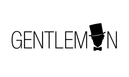 Retro style emblem. Silhouette of a gentleman with top hat and bow tie Vectores