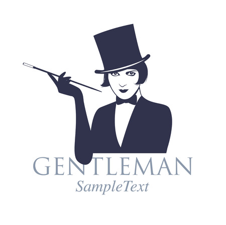 Retro style emblem. Girl dressed as a gentleman, with top hat and bow tie, smoking in long pipe