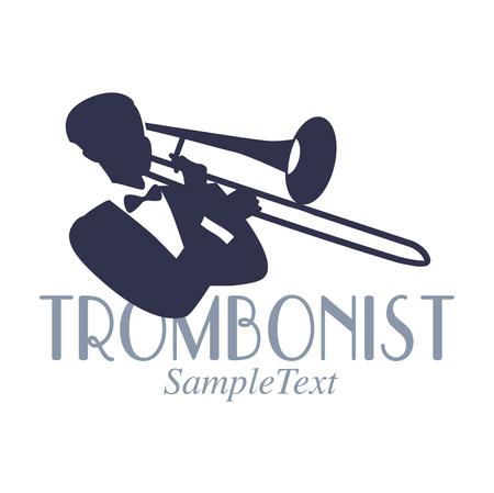 Emblema de estilo retro da silhueta de trombonista. Símbolo de jazz