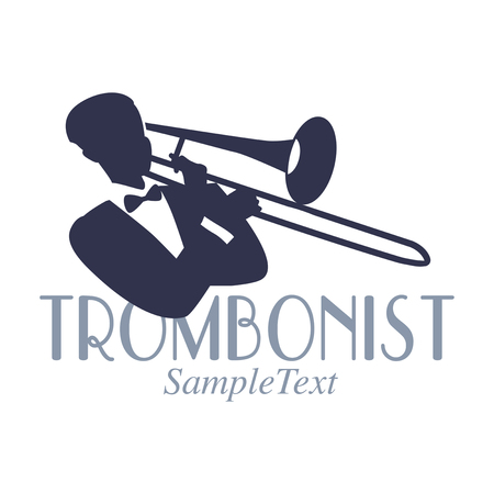 Retro style emblem of trombonist silhouette. Jazz symbol Illustration