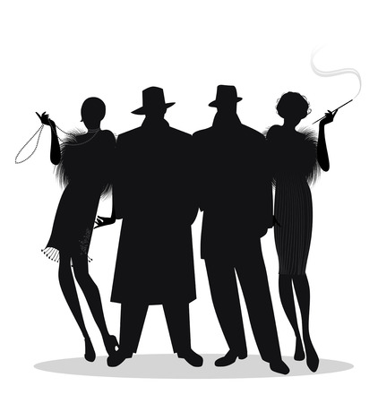 Silhouettes of two men and two flapper girls 20s style isolated on white background. Roaring twenties