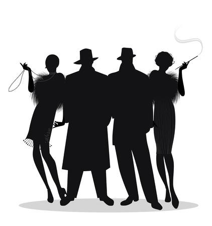 Sylwetki dwóch mężczyzn i dwie dziewczyny klapy w stylu lat dwudziestych na białym tle. Ryczące Dwudziestki