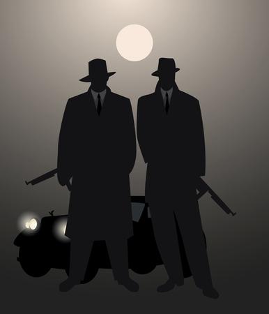 ●月面下に機関銃とレトロな車を背景にした2人の男のシルエット