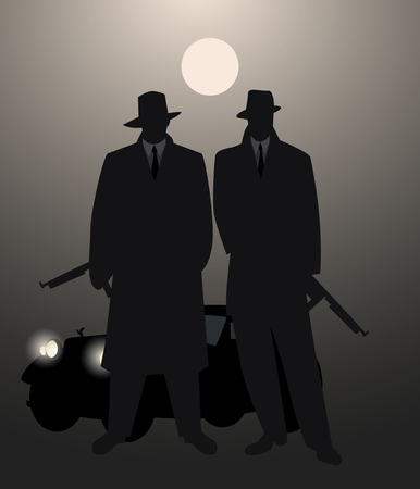 Silhouettes of two men with machine gun and retro car under the moon on the background