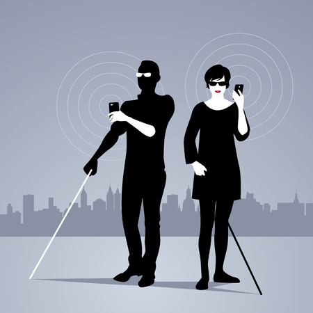 Mobile Technology for People with Visual Impairments. Couple of blind people using smartphones with adapted technology Illustration