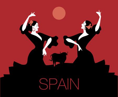 Two Spanish flamenco dancers dancing
