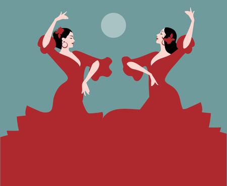 스페인 춤 2 인의 스페인 무용가