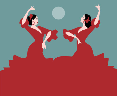 Two Spanish flamenco dancers dancing Banco de Imagens - 92879107