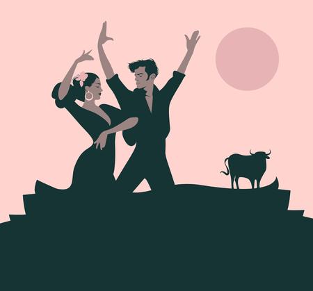 Een paar flamencodansers dansen Stock Illustratie