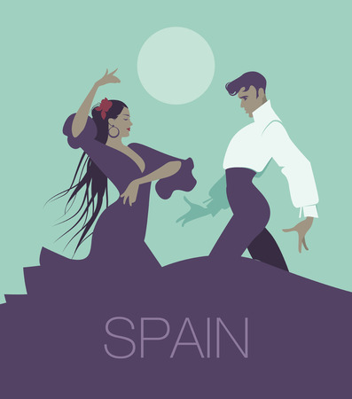 Couple of flamenco dancers dancing