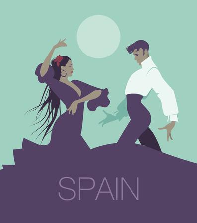 Couple of flamenco dancers dancing