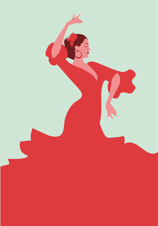Beautiful Spanish flamenco dancer, wearing elegant red dress and flower in her hair