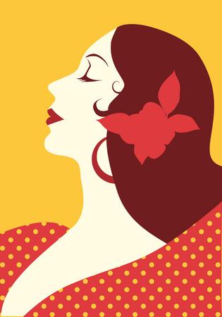Beautiful spanish woman with flower in her hair and polka dot dress wearing big circular earrings Çizim