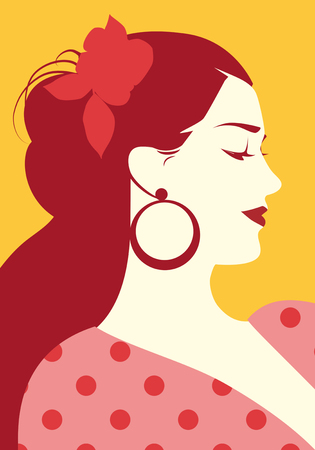 Beautiful spanish woman with flower in her hair and polka dot dress wearing big circular earrings Ilustração