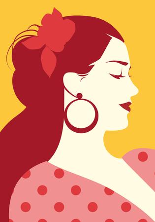 Mooie Spaanse vrouw met bloem in haar haar en polka dot jurk dragen grote circulaire oorbellen
