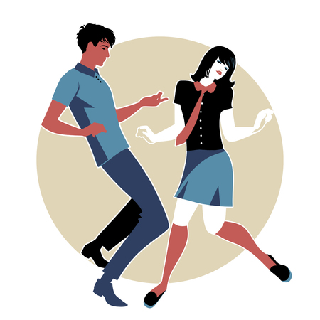 Young couple wearing retro clothes 60s, dancing Northern Soul or Mod style.