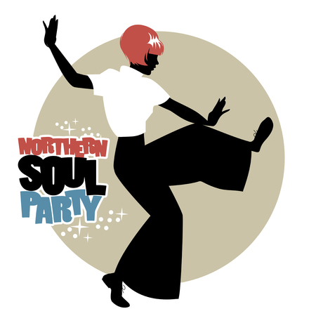 Silhouette of girl wearing wide trousers, dancing Northern Soul. Illustration