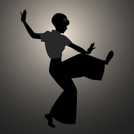 Silhouette of girl wearing wide trousers, dancing Northern Soul. Vectores