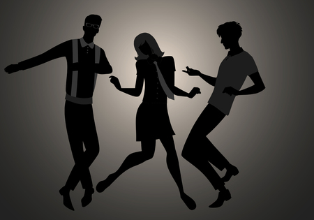 Silhouettes of two guys and girl wearing retro clothes in the 1960s Mod style dancing Northern Soul.