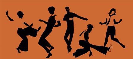 레트로 옷을 입고 Mod 또는 Northern Soul 스타일을 춤을 춘 5 명의 젊은이들의 그룹