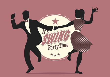 Swing Party Time: Silhouettes of young couple wearing retro clothes dancing swing or lindy hop Stock Illustratie