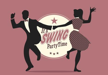 Swing Party Time: silhouettes de jeunes couples portant des vêtements rétro dansant le swing ou le lindy hop