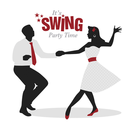 Swing Party Time: Silhouettes of young couple wearing retro clothes dancing swing or lindy hop Reklamní fotografie - 93725808