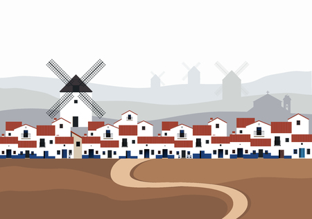 Typical Spanish village (La Mancha) with windmills in the background landscape. Road on the ground in the foreground. Ilustração