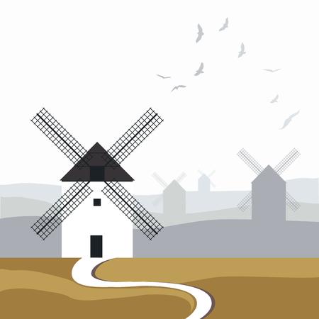 Moinhos de vento espanhóis típicos. Estrada no primeiro plano e paisagem com os pássaros sobre o céu no fundo. Foto de archivo - 93725811