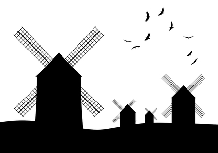 Silhouettes of typical Spanish windmills on white background