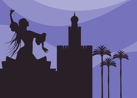 Silhouette of flamenco dancer, palms and monuments in Seville. (The Gold Tower) Иллюстрация