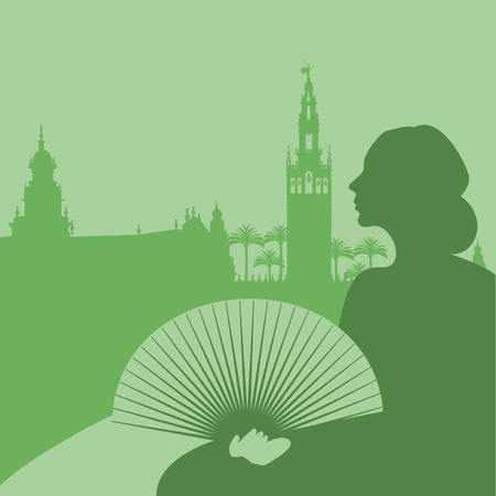 Silhouette of woman with fan, palm trees and monuments of Seville. (The Spain Square and The Giralda)